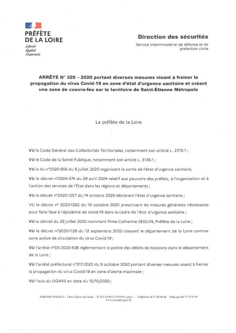 Couvre Feu Sur La Metropole De St Etienne Mairie De Sainte Croix En Jarez