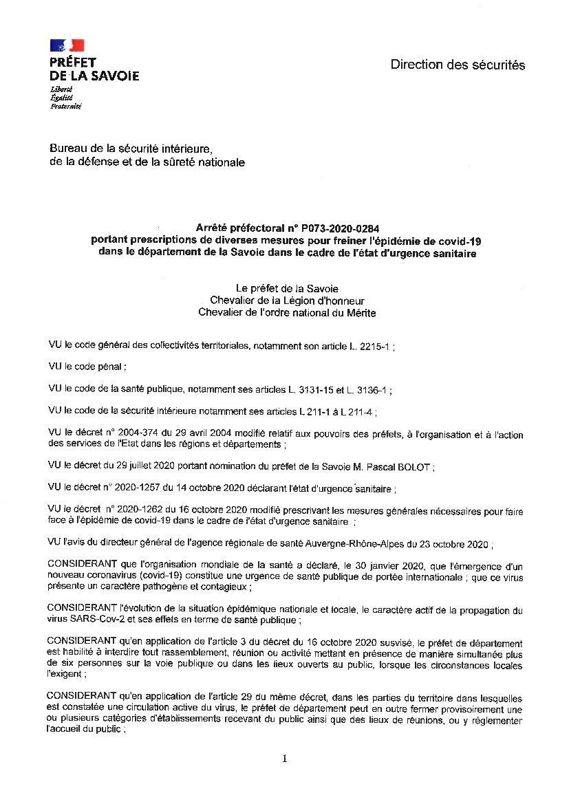 Arrete Anti Covid Du 24 Octobre 2020 Mairie De Valloire